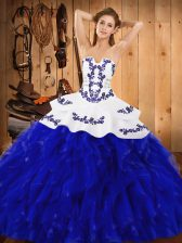 High End Blue And White Ball Gowns Embroidery and Ruffles 15th Birthday Dress Lace Up Satin and Organza Sleeveless Floor Length