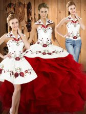 Shining Sleeveless Lace Up Floor Length Embroidery and Ruffles Sweet 16 Quinceanera Dress