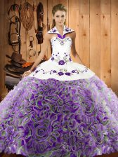 Free and Easy Multi-color 15 Quinceanera Dress Fabric With Rolling Flowers Sweep Train Sleeveless Embroidery