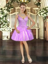 Top Selling Tulle Sleeveless Mini Length Homecoming Dress and Beading and Ruffles