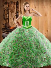 Top Selling Multi-color Sweetheart Lace Up Embroidery Sweet 16 Quinceanera Dress Sweep Train Sleeveless