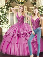 New Style Fuchsia Ball Gowns Beading and Ruffled Layers 15th Birthday Dress Lace Up Organza Sleeveless Floor Length