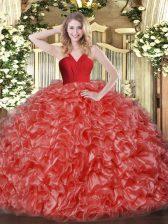 Modern Sleeveless Organza Floor Length Zipper 15th Birthday Dress in Red with Ruffles