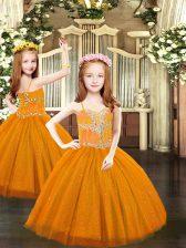 Tulle Sleeveless Floor Length Little Girl Pageant Dress and Beading