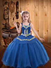 Fashionable Blue Ball Gowns Straps Sleeveless Organza Floor Length Lace Up Beading and Embroidery and Ruffles Little Girls Pageant Dress Wholesale