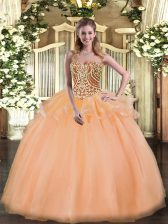 Fancy Peach Lace Up Sweetheart Beading and Ruffles 15 Quinceanera Dress Tulle Sleeveless