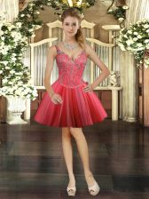Fantastic Sleeveless Tulle Mini Length Lace Up Prom Dresses in Coral Red with Beading