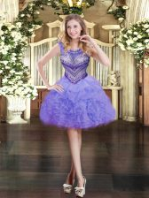 Ball Gowns Prom Evening Gown Lavender Scoop Organza Sleeveless Mini Length Zipper