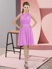 Suitable Lilac Scoop Neckline Sequins Quinceanera Court Dresses Sleeveless Zipper