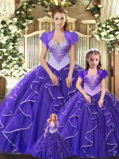 Ball Gowns Vestidos de Quinceanera Purple Scoop Tulle Sleeveless Floor Length Lace Up