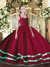 Red Ball Gowns Straps Sleeveless Organza Floor Length Zipper Ruffled Layers 15th Birthday Dress