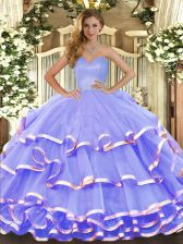 High Quality Lavender Sleeveless Ruffled Layers Floor Length Quinceanera Gowns