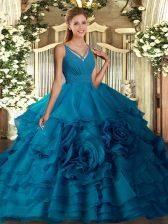 Perfect Blue Sleeveless Ruffles Floor Length Vestidos de Quinceanera