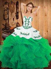 Green Sleeveless Satin and Organza Lace Up Quinceanera Dress for Military Ball and Sweet 16 and Quinceanera