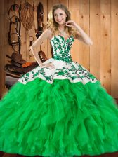 Trendy Satin and Organza Sweetheart Sleeveless Lace Up Embroidery and Ruffles Quinceanera Gowns in Green