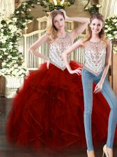 Cute Wine Red Tulle Zipper Scoop Sleeveless Floor Length Quince Ball Gowns Beading and Ruffles
