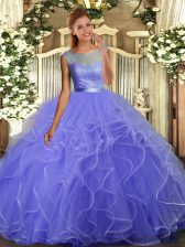 Charming Lavender Ball Gowns Scoop Sleeveless Organza Floor Length Backless Ruffles Quinceanera Dresses