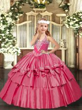 Trendy Hot Pink Lace Up Kids Formal Wear Beading and Ruffled Layers Sleeveless Floor Length