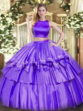 Two Pieces Ball Gown Prom Dress Purple High-neck Tulle Sleeveless Floor Length Criss Cross
