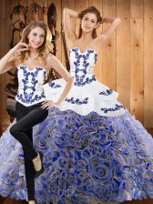 Low Price Multi-color Quince Ball Gowns Military Ball and Sweet 16 and Quinceanera with Embroidery Strapless Sleeveless Brush Train Lace Up