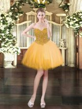 Mini Length Gold Prom Gown Sweetheart Sleeveless Lace Up