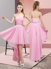 Sleeveless High Low Beading Lace Up Quinceanera Dama Dress with Pink