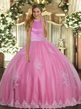 Extravagant Rose Pink Backless Quinceanera Dresses Beading and Appliques Sleeveless Floor Length