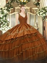 Sleeveless Satin and Tulle Floor Length Zipper Quinceanera Gowns in Brown with Beading and Embroidery and Ruffled Layers