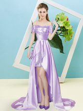 Lavender Empire Sequins Prom Dress Lace Up Elastic Woven Satin and Sequined Short Sleeves High Low