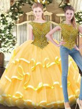 Unique Gold Bateau Zipper Beading and Ruffled Layers Quinceanera Gown Sleeveless