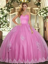 Elegant Sleeveless Tulle Floor Length Lace Up Quinceanera Gowns in Rose Pink with Beading and Appliques