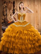 Elegant Gold Sweetheart Neckline Embroidery and Ruffled Layers Sweet 16 Quinceanera Dress Sleeveless Lace Up