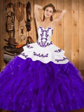 White And Purple Ball Gowns Embroidery and Ruffles Quince Ball Gowns Lace Up Satin and Organza Sleeveless Floor Length