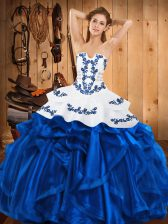Discount Blue Satin and Organza Lace Up Quinceanera Gown Sleeveless Floor Length Embroidery and Ruffles