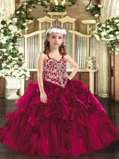 Sleeveless Lace Up Floor Length Beading and Ruffles Pageant Dress for Womens