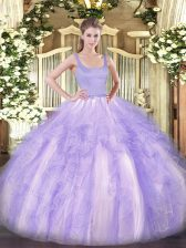 Lavender Tulle Zipper 15 Quinceanera Dress Sleeveless Floor Length Beading and Ruffles