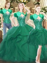 Sleeveless Floor Length Beading and Ruffles Lace Up Sweet 16 Quinceanera Dress with Dark Green