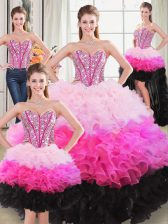 Traditional Floor Length Ball Gowns Sleeveless Multi-color Quinceanera Gown Lace Up