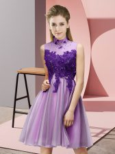 Empire Court Dresses for Sweet 16 Lilac High-neck Tulle Sleeveless Knee Length Lace Up