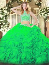 High Class Floor Length Backless Vestidos de Quinceanera Green for Military Ball and Sweet 16 and Quinceanera with Beading and Ruffles