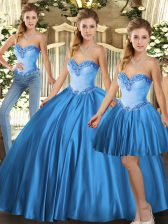 Baby Blue Three Pieces Beading Quinceanera Gowns Lace Up Tulle Sleeveless Floor Length