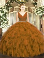 Brown Ball Gowns Tulle V-neck Sleeveless Beading and Ruffles Floor Length Zipper Quince Ball Gowns