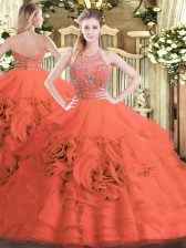 Red 15 Quinceanera Dress Military Ball and Sweet 16 and Quinceanera with Beading and Ruffled Layers Halter Top Sleeveless Zipper