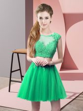 Fancy Turquoise Evening Dress Prom and Party with Appliques Scoop Sleeveless Zipper