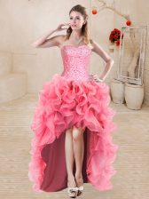 Organza Sleeveless High Low Prom Gown and Beading and Ruffles