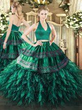 Dark Green Zipper Halter Top Appliques and Ruffles Quinceanera Dresses Organza Sleeveless