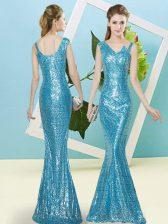 Flirting Mermaid Prom Dresses Baby Blue Asymmetric Sequined Sleeveless Floor Length Zipper