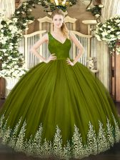 Floor Length Ball Gowns Sleeveless Olive Green 15 Quinceanera Dress Backless