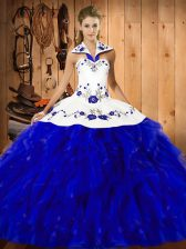 Free and Easy Blue And White Ball Gowns Satin and Organza Halter Top Sleeveless Embroidery and Ruffles Floor Length Lace Up Quinceanera Dress