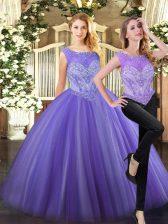 Clearance Lavender Sleeveless Beading Floor Length Ball Gown Prom Dress